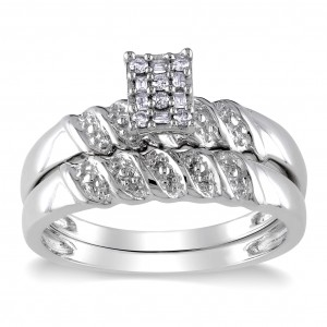 Sterling Silver 1/10ct TDW Baguette and Round-cut Diamond Cluster Bridal Ring Set - Custom Made By Yaffie™