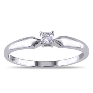 Sterling Silver 1/10ct TDW Princess Diamond Ring - Custom Made By Yaffie™