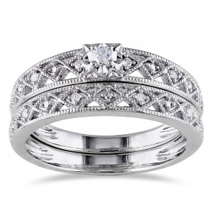 Sterling Silver 1/10ct TDW Vintage Diamond Filigree Bridal Ring Set - Custom Made By Yaffie™