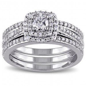Sterling Silver 1/2ct TDW Cushion Diamond Double Halo Bridal Ring Set - Custom Made By Yaffie™