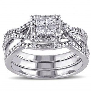 Sterling Silver 1/2ct TDW Princess-cut Quad White Diamond Interlaced Halo 3-piece Bridal Ring Set - Custom Made By Yaffie™