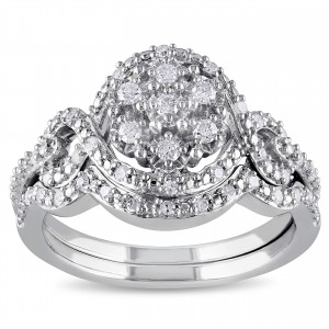 Sterling Silver 1/3ct TDW Diamond Bridal Set - Custom Made By Yaffie™