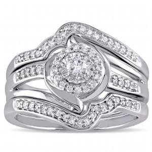 Sterling Silver 1/3ct TDW Diamond Bypass Halo Bridal Ring Set - Custom Made By Yaffie™