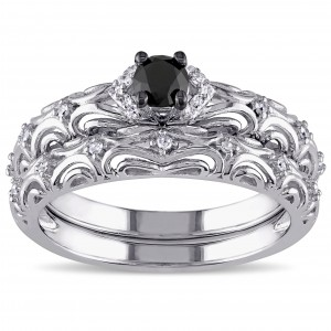 Sterling Silver 1/3ct TDW Diamond Filigree Vintage Bridal Ring Set - Custom Made By Yaffie™