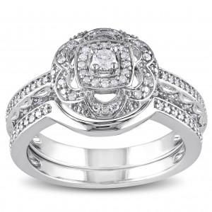 Sterling Silver 1/3ct TDW Diamond Floral Bridal Ring Set - Custom Made By Yaffie™