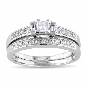 Sterling Silver 1/3ct TDW Princess, Baguette and Round-cut Diamond Bridal Ring Set - Custom Made By Yaffie™