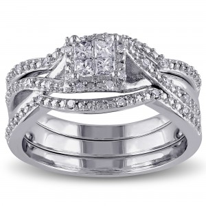 Sterling Silver 1/3ct TDW Princess and Round-cut Split Shank Diamond Bridal Ring Set - Custom Made By Yaffie™