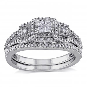 Sterling Silver 1/4ct TDW Diamond Bridal Ring Set - Custom Made By Yaffie™