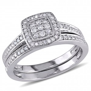 Sterling Silver 1/4ct TDW Diamond Halo Cluster Bridal Ring Set - Custom Made By Yaffie™