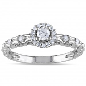 Sterling Silver 1/4ct TDW Diamond Halo Stackable Engagement Ring - Custom Made By Yaffie™