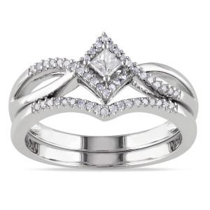 Sterling Silver 1/4ct TDW Diamond Split Shank Halo Bridal Ring Set - Custom Made By Yaffie™