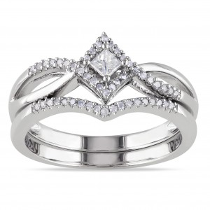 Sterling Silver 1/4ct TDW Diamond Split Shank Halo Bridal Ring Set - Custom Made By Yaffie™