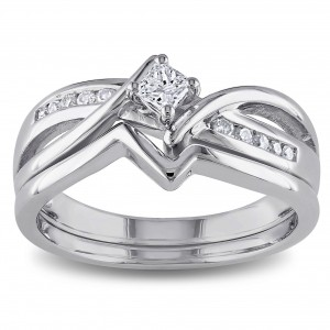 Sterling Silver 1/4ct TDW Princess and Round-cut Diamond Split Shank Bridal Ring Set - Custom Made By Yaffie™