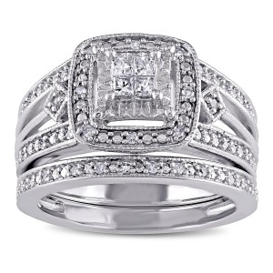 Sterling Silver 1/4ct TDW Princess-cut Diamond Bridal Ring Set - Custom Made By Yaffie™