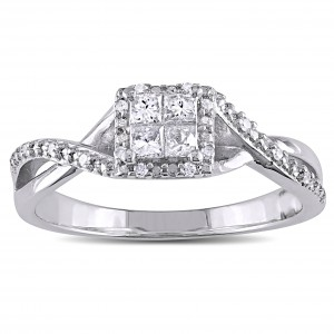 Sterling Silver 1/4ct TDW Princess-cut Diamond Crossover Halo Engagement Ring - Custom Made By Yaffie™