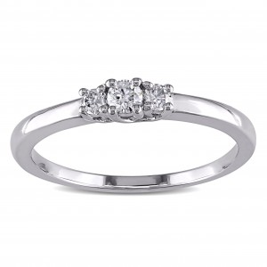 Sterling Silver 1/5ct TDW 3-Stone Diamond Ring - Custom Made By Yaffie™