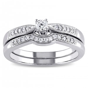 Sterling Silver 1/5ct TDW Diamond Bridal Ring Set - Custom Made By Yaffie™