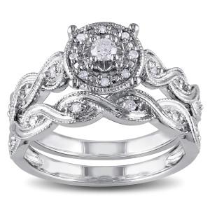 Sterling Silver 1/5ct TDW Diamond Infinity Filigree Vintage Halo Bridal Ring Set - Custom Made By Yaffie™