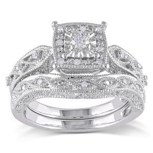 Sterling Silver 1/5ct TDW Diamond Milgrain Bridal Ring Set - Custom Made By Yaffie™