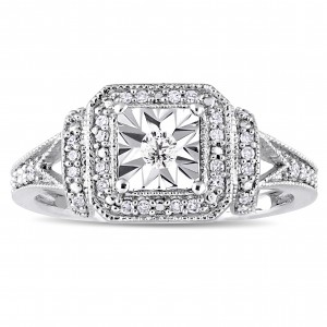 Sterling Silver 1/5ct TDW Diamond Square Halo Engagement Ring - Custom Made By Yaffie™