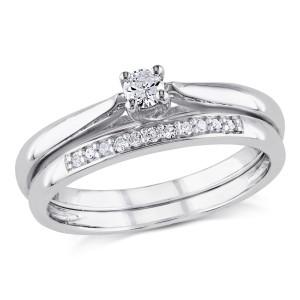 Sterling Silver 1/6ct TDW Diamond Bridal Ring Set - Custom Made By Yaffie™
