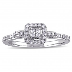Sterling Silver 1/6ct TDW Diamond Clustered Halo Engagement Ring - Custom Made By Yaffie™