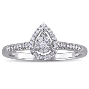 Sterling Silver 1/6ct TDW Diamond Teardrop Halo Ring - Custom Made By Yaffie™