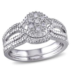 Sterling Silver 1/7ct TDW Diamond Cluster Split Shank Bridal Ring Set - Custom Made By Yaffie™