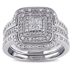Sterling Silver 3/8ct TDW Diamond Princess-cut Halo 3-piece Bridal Ring Set - Custom Made By Yaffie™