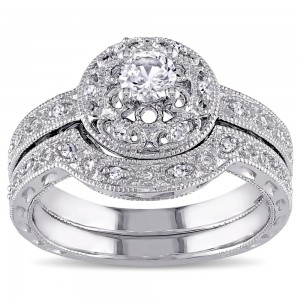 Sterling Silver Created-white-sapphire and 1/10ct TDW Diamond Bridal Ring Set - Custom Made By Yaffie™