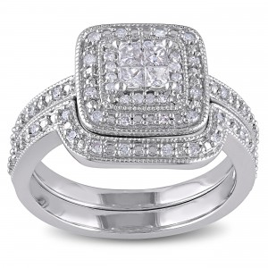 Sterling Silver Princess-cut Quad 1/3ct TDW Diamond Double Halo Bridal Ring Set - Custom Made By Yaffie™