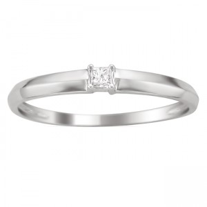 White Gold Diamond Accent Promise Ring - Custom Made By Yaffie™