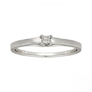 White Gold Diamond Accent Solitaire Princess Cut Promise Ring - Custom Made By Yaffie™