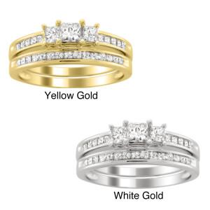 Gold 1 1/2ct TDW Three Stone Diamond Bridal Ring Set - Custom Made By Yaffie™