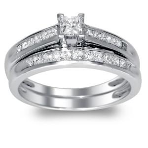 Gold 1/2ct TDW Princess-cut Diamond Bridal Ring Set - Custom Made By Yaffie™