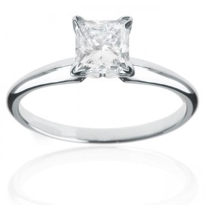 Gold 1ct TDW Princess Diamond Solitaire Engagement Ring - Custom Made By Yaffie™
