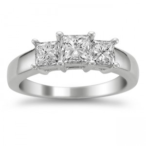 White Gold 1 1/2ct TDW Diamond 3-stone Engagement Ring - Custom Made By Yaffie™