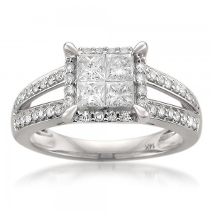 White Gold 1 1/6ct TDW Princess-cut Diamond Ring - Custom Made By Yaffie™