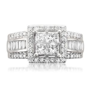 White Gold 1 3/4ct TDW Princess-cut Diamond Ring - Custom Made By Yaffie™