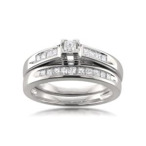 White Gold 1/2ct TDW Certified Princess-cut Diamond Bridal Ring Set - Custom Made By Yaffie™