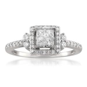 White Gold 1/2ct TDW Princess Diamond Ring - Custom Made By Yaffie™