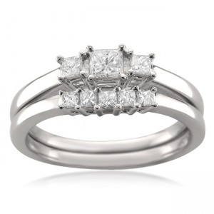 White Gold 1/2ct TDW Princess-cut Diamond Bridal Ring Set - Custom Made By Yaffie™