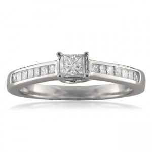 White Gold 1/2ct TDW Princess-cut Diamond Promise Ring - Custom Made By Yaffie™