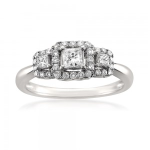 White Gold 1/2ct TDW Princess-cut White Diamond 3-Stone Engagement Ring - Custom Made By Yaffie™