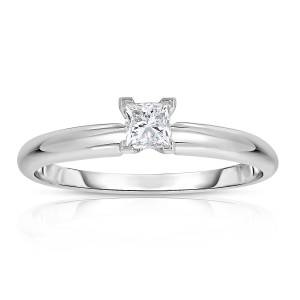 White Gold 1/4ct Princess Solitaire Diamond Ring - Custom Made By Yaffie™