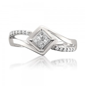 White Gold 1/4ct TDW Princess-cut Diamond Composite Engagement Ring - Custom Made By Yaffie™