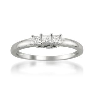 White Gold 1/4ct TDW Three Stone Princess Cut Diamond Ring - Custom Made By Yaffie™