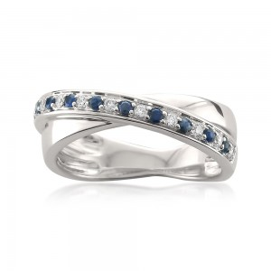 White Gold 1/8ct TDW Diamond and Blue Sapphire Ring - Custom Made By Yaffie™