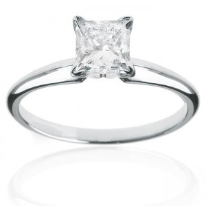 White Gold 1ct TDW Certified Diamond Princess Solitaire Engagement Ring - Custom Made By Yaffie™