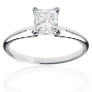 White Gold 1ct TDW Princess Diamond Engagement Ring - Custom Made By Yaffie™